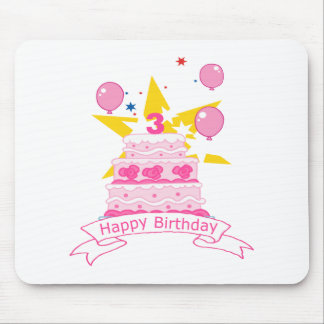 3 Year Old Birthday Cake Mouse Pad