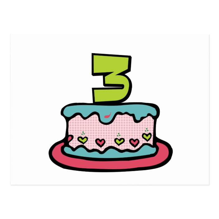 Super 3 Year Old Birthday Cake Postcard Zazzle Com Birthday Cards Printable Inklcafe Filternl