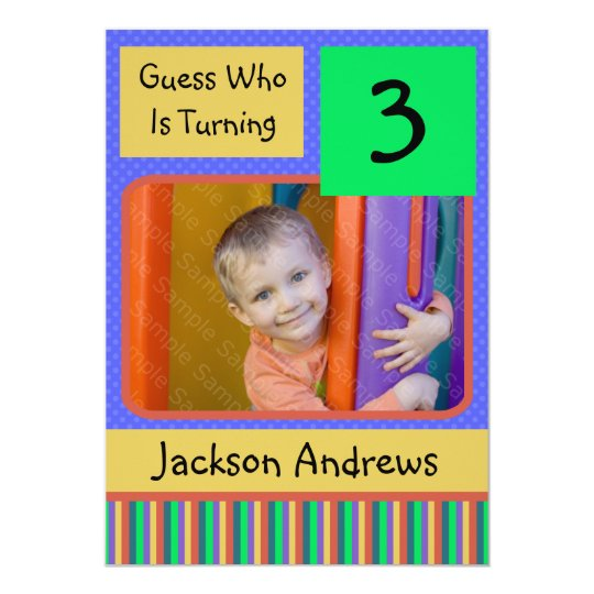 3 Year Old Birthday Party Invitations BOY