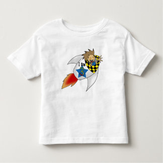 3 year old boy in a rocket toddler t-shirt
