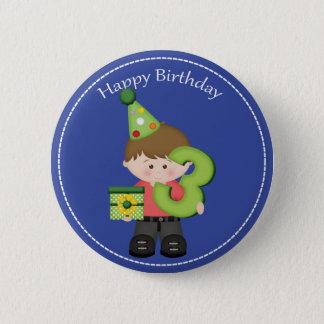 3 year old boys Happy Birthday Button