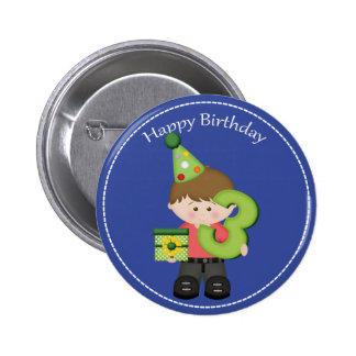 3 year old boys Happy Birthday Button