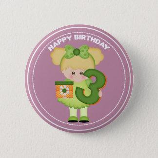 3 year old girl Birthday Button