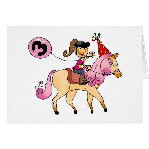 3 year old girl on a pony greeting card