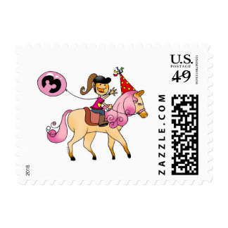 3 year old girl on a pony postage stamp