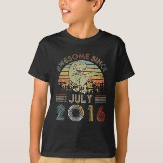 3 Year Old July 2016 3rd Dinosaur Birthday Boy T-Shirt