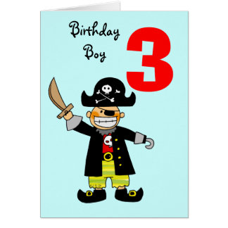 3rd birthday party greeting cards zazzle 3 year old pirate boy card bookmarktalkfo Images