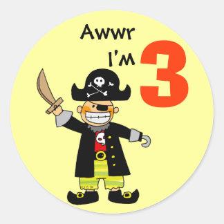 3 year old pirate boy round stickers