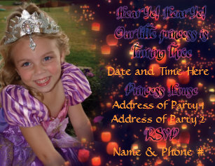 3 Year Old Princess Birthday Invites With Back