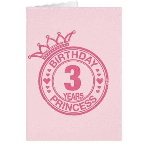 3 years - Birthday Princess - pink Card