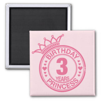 3 years - Birthday Princess - pink Magnet