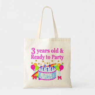 3 YEARS OLD AND READY TO PARTY BIRTHDAY GIRL TOTE BAG