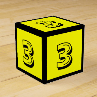 3 Yellow Number Building Block Box by Janz