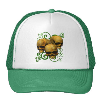 3 Yellow Skulls w/Green Swirl Design Trucker Hat