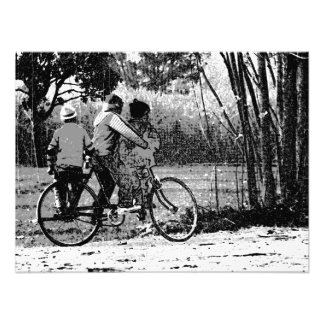3 young children on a cycle in rural India Photo Art