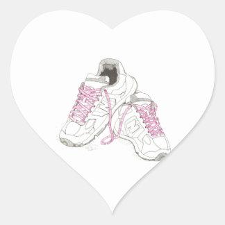 3 zapatos para andar del día pegatina en forma de corazón