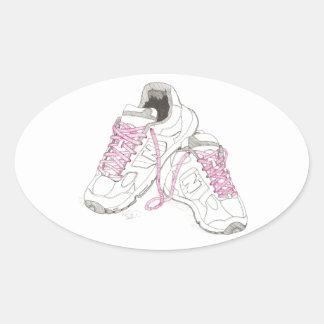 3 zapatos para andar del día pegatina ovalada