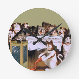 3abfunny cats vintage singing cats fun round clock