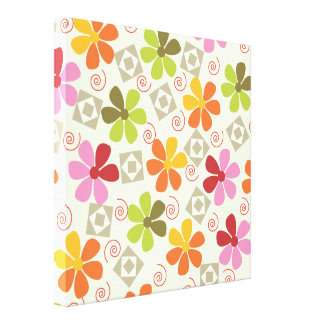 3ai flowers retro gallery wrapped canvas