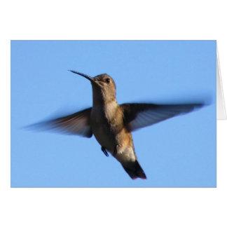 3aJ Hummingbird Flying in a Blue Sky Greeting Card