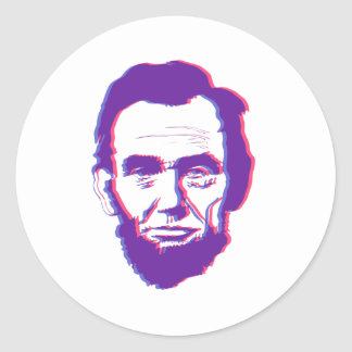 3d abe lincoln classic round sticker