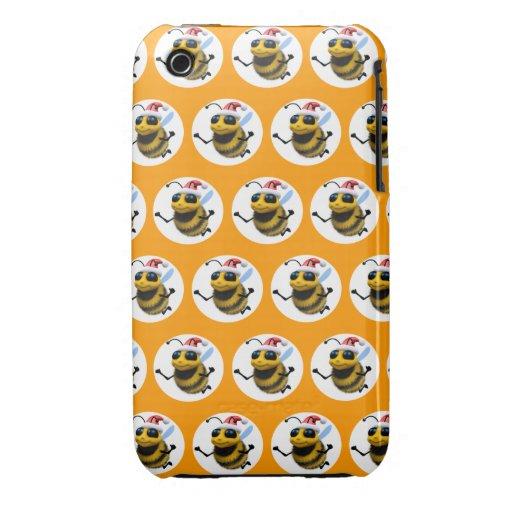 3d abeja Santa (BG Editable colorea!) Case-Mate iPhone 3 Cárcasas