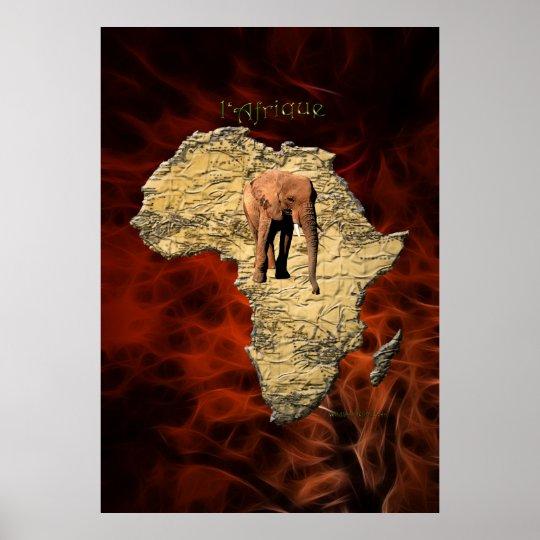 3D AFRICAN MAP & ELEPHANT Art Poster (Larger)