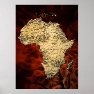 3D AFRICAN MAP Red Fractal Art Poster (Larger)