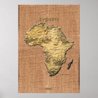 3D AFRICAN MAP Textured Art Poster