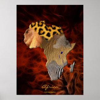 3D AFRICAN Wildlife Map Red Fractal Art Poster