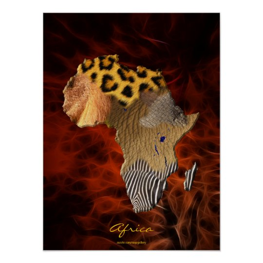 3D AFRICAN Wildlife Map Red Fractal Art Poster