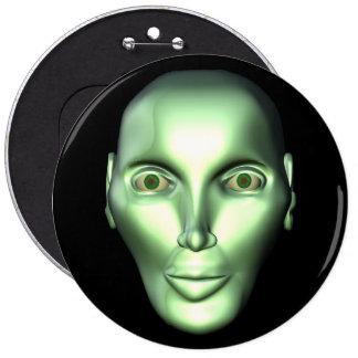 3D Alien Head Extraterrestrial Being Button