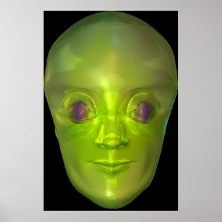 3D Alien Head Extraterrestrial Being Poster
