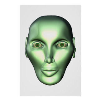 3D Alien Head Extraterrestrial Being Poster