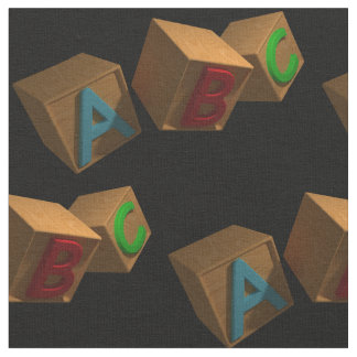3D Alphabet Blocks Fabric