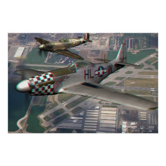 3D Anaglyph of P51 n Spitfire over Airfield Poster