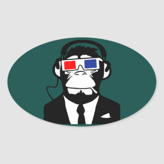 3D Ape Monkey Club Electro Motive Headphones Oval Sticker