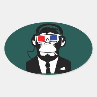 3D Ape Monkey Club Electro Motive Headphones Oval Sticker