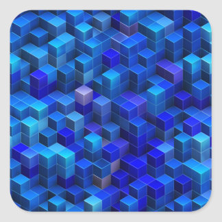 3D apilado azul cubica el modelo geométrico Pegatina Cuadrada