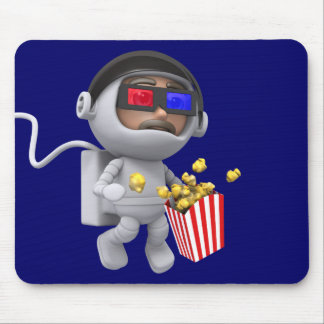 3d Astronaut popcorn floats in space Mouse Pad