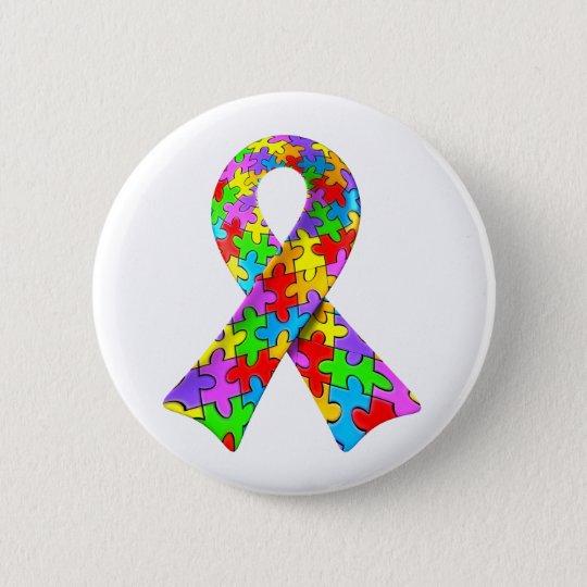 3D Autism awareness puzzle ribbon Button