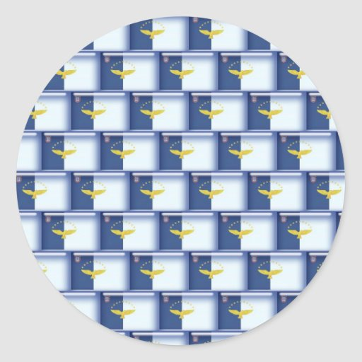 3D Azores flag pattern Round Stickers