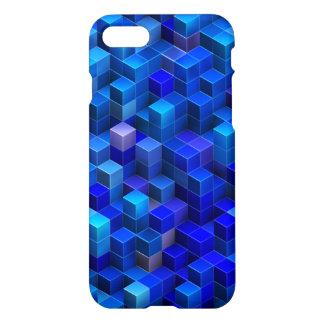 3D azul cubica el modelo geométrico abstracto Funda Para iPhone 7