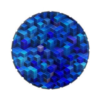 3D azul cubica el modelo geométrico abstracto Jarrones De Dulces