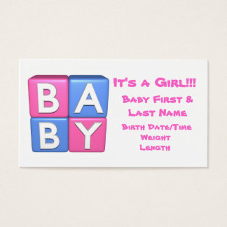 3D Baby Girl Announcement Business Card