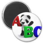 3d Baby Panda ABC 2 Inch Round Magnet