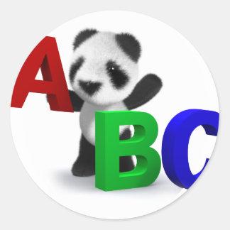 3d Baby Panda ABC Classic Round Sticker