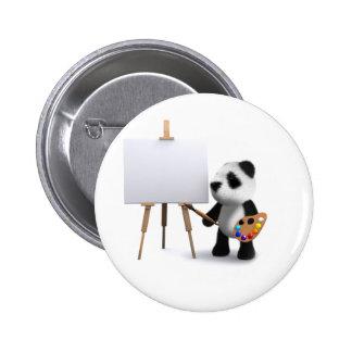 3d Baby Panda Artist 2 Inch Round Button