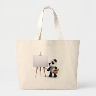 3d Baby Panda Artist Large Tote Bag