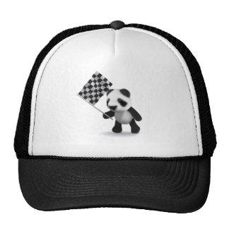 3d Baby Panda Checkered Flag Trucker Hat